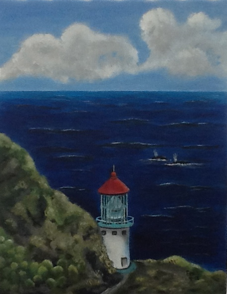 Makapu'u Pt. Lighthouse on Oahu, Hawaii during whale season. Acrylic painting by Emily.