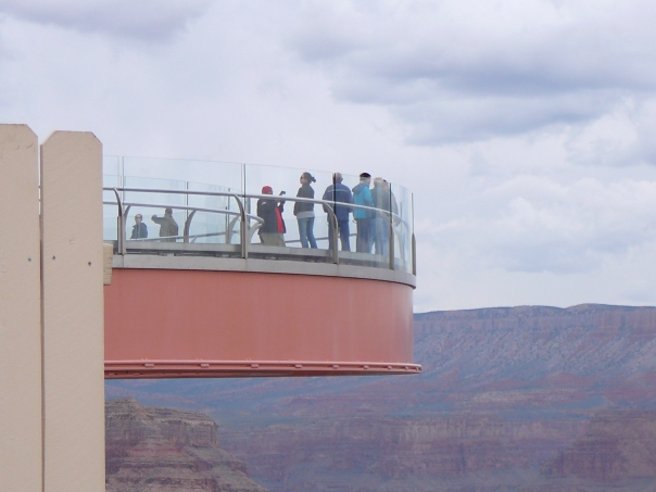 This is the Skywalk glass bridge suspended 4,000' above the Colorado River on the very edge of the Grand Canyon!