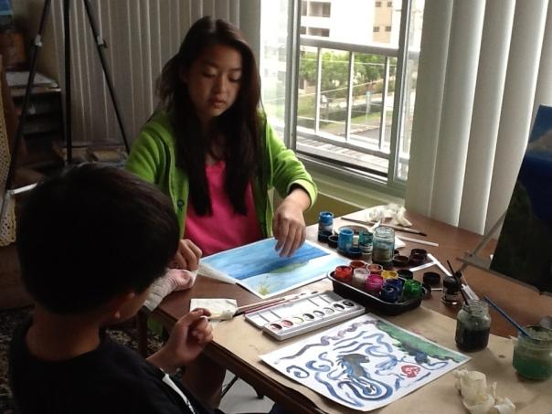 Grandchildren doing some art work.