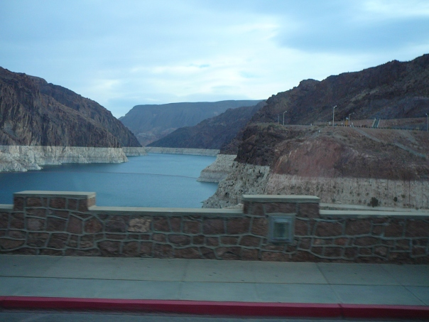 LAKE MEAD RESERVOIR-  Note rings of white mineral deposits showing drop in water level.