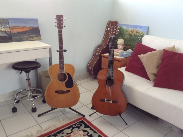 Takamine steel string on left, Alvarez acoustic on right.